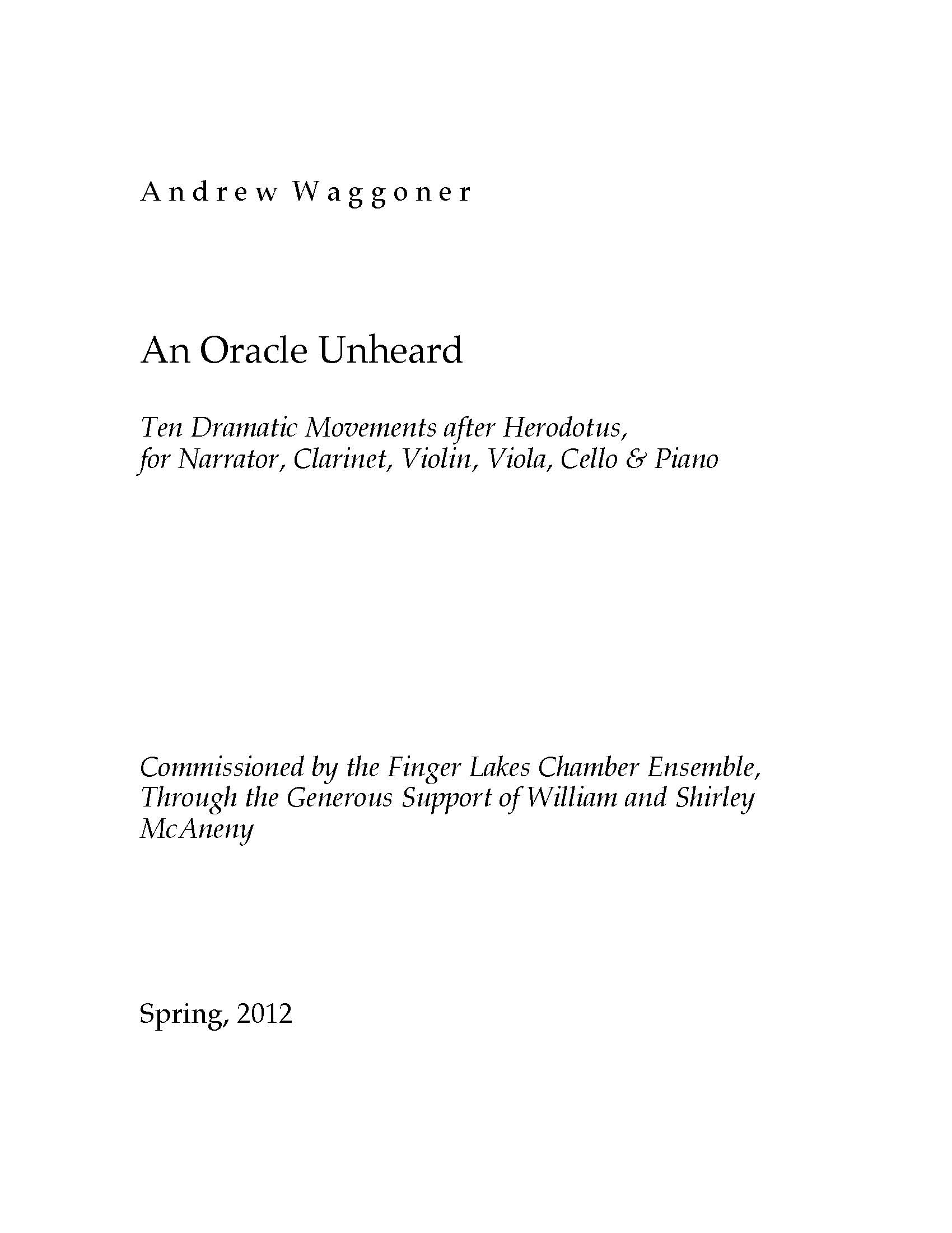 An Oracle Unheard for Narrator, Clarinet, Violin, Viola, Cello & Piano